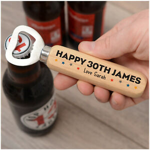 PERSONALISED 21st 30th 40th Birthday Bottle Opener Gifts for Him Men Dad ANY Age