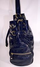 Jimmy Choo Ring Bucket Navy Blue - Patent Leather handbag Authentic MSRP $1795