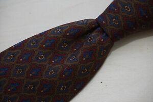 Polo Ralph Lauren Ancient Madder Vintage Red Royal Blue Floral Badge Silk tie