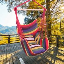 New listing Outdoor Hammock Hanging Rope Chair Swing Seat Porch Patio Camping 2 Pillows Red