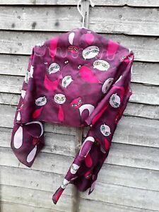 Luxurious Handpainted Gustav Klimt Style Pure Silk Scarf Wrap Kerchief Shawl art