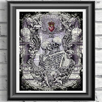 Skeletons in Love Wall Decor Wall art Printed on Antique Dictionary Book Page