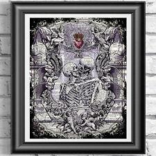 Scheletri innamorati Wall Decor Wall Art stampato sulla pagina del libro antico DIZIONARIO