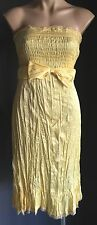 Pretty KATHERINE Yellow Strapless Crinkly Fabric Party/Formal Dress Size 14
