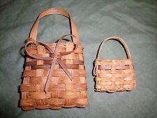 """(2737) 2 small Homemade pocket baskets USTATE NY!  4x7x1.5"""" & 2.5x3.5x1"""""""