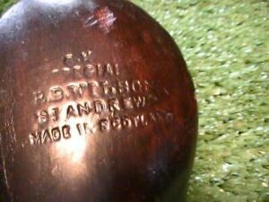 Antique Vintage RB.Wilson St Andrews SPECIAL Splice Neck Leather Insert Brassie
