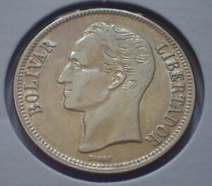 VENEZUELA 1954 One Bolivar Silver Coin AU