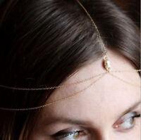 Women Party Gold bead boho Bohemian Metal Hair Chain Headband forehead band
