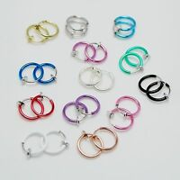 Small Clip On Circle Hoop Loop Ring NON-PIERCED Earrings Many Color 13mm Gift UK