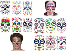 Sugar Skull, Day of The Dead, Mexican Halloween Temporary Full Face Body Tattoos