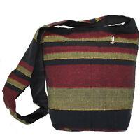 Umhängetasche Stoffbeutel Indien-Beutel Tasche Baumwolle Hippie Schwarz Rot Gelb