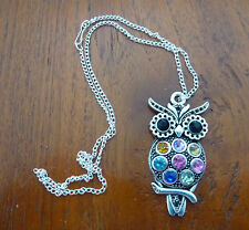 Silver Plated Black Eyes Coloured Stones Charm Chain Necklace Free Shipping