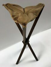 Vintage/Antique Triangle- FOLDING WOOD-Canvas-Stool-CHAIR