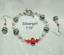 White Icing Imitation Pearl Bead Polymer Clay Boutique Bracelet Earring Set
