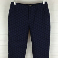 MERONA womens size 4 navy blue 100% cotton flat front mid rise lined crop pants