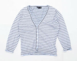 Warehouse Womens Size 12 Striped Silk Blend Blue Cardigan (Regular)