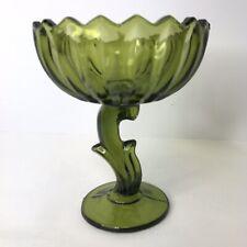 Green Pedestal Lotus Compote Vintage Carnival Glass Flower Scalloped Bowl
