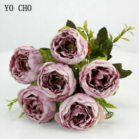 Roses Artificial Flowers Fake Peonies Silk Bouquet Home Wedding Party beautiful
