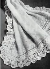 "Baby Heirloom Shawl Knitting Pattern 3ply 48x48"" 1179"