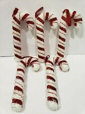 (5) Christmas Holiday Red White Candy Cane Peppermint Ornaments Decor 6.75""