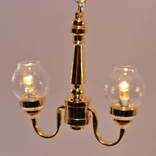 Dollhouse  Miniature Ceiling Light 2 Arm Frosted Flower Shade 1:12 Scale 12 Volt
