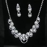Chic Bridal Wedding Earring Rhinestone Crystal Fake Pearl Necklace Jewelry Set
