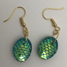 Mermaid Egg / Dragon Egg Scales Gold Plt Charm Earrings Green AB I030