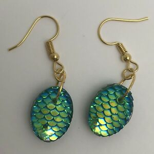 Mermaid Egg / Dragon Egg Scales Gold Plt Charm Earrings Green AB I030