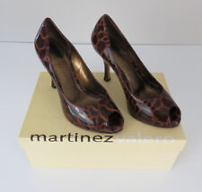Martinez Valero Womens Fanny Brown Crocco High Heel/Pumps Peep Toe Shoes Size 6M