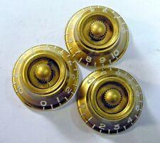 Gibson Custom Shop R9 KNOBS (3) Gold Bonnets USA 2000 - 2010 Les Paul Es-335 RI