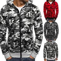 Men's Camo Winter Hooded Coat Tops Hoodie Sweatshirt Jacket Outerwear Sweater