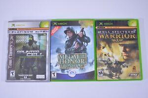 Lot of 3 Microsoft Xbox Games - Splinter Cell - Medal of Honor - Full Spectrum
