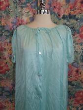 Vtg Lorraine AQUA BLUE BUTTON DOWN NIGHTGOWN L Nylon & Lace Spring Summer Season