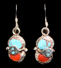 Stunning Zuni Turquoise Dangle Sterling Silver Hook Earrings by Effie Calavaza
