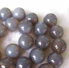 10mm Natural Grey Agate Round Beads 15''AAA