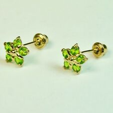 14k solid y/gold 6.5mm Peridot Star stud screw back gorgeouse earrings .60 tcw