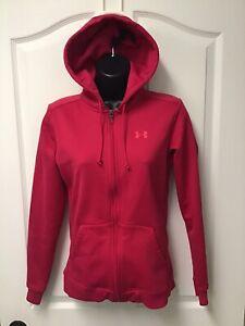 Under Armour Women's Full Zip Fleece Jacket W/ Hood Pink Size Small 493
