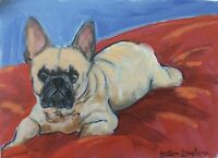 French Bulldog  ACEO Original Miniature acrylic Painting  Cape Cod Artist