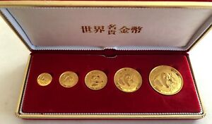 LOOK__1988- CHINESE PANDA 5- .999 FINE GOLD PROOF COIN SET- 1 OZ- 1/20TH OZ