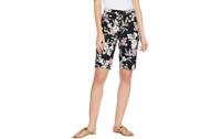 Isaac Mizrahi Live! Petite 24/7 Stretch Tropical Floral Bermuda Shorts Black P14