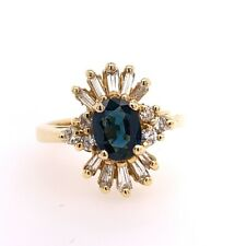 1.53 Carat Retro Gold Ring Natural Oval Deep Blue Sapphire & Diamond Circa 1980