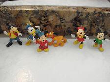 RARE VINTAGE MINIATURE FIGURE WALT DISNEY HONG KONG lot of 6 Micky Wizard,Pluto+