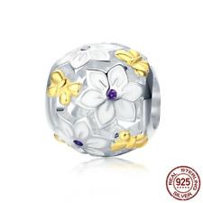 925 Sterling Silver Daisy Flower CZ Butterfly Pattern Charm Beads fit Bracelets