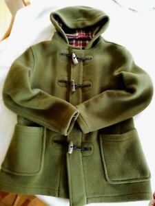 Original Montgomery 100% Wool Duffle Coat Size 14 Green with Tartan Lining