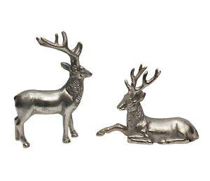 Antler Deer Pair Reindeer Figurine Sculpture Statue Table Centerpiece Decor