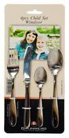 Grunwerg Stainless Steel Cutlery Child Children Set 4pc Windsor Kids New