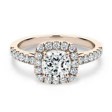 Lovely 14K Rose Gold 1 Carat Cushion Cut Moissanite with Accents Halo Ring