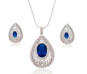 18k 18ct White Gold Filled GF Water Drop Filigree Necklace Earrings Sets S441