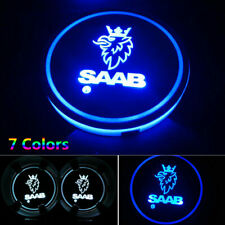 2pcs for SAAB LED Car Cup Holder Pad Mat Interior Automobiles Atmosphere Lights