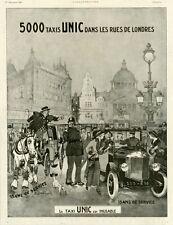 """""""TAXIS UNIC"""" Annonce originale entoilée ILLUSTRATION 1/12/1923 Félix TOBBE DUVAL"""